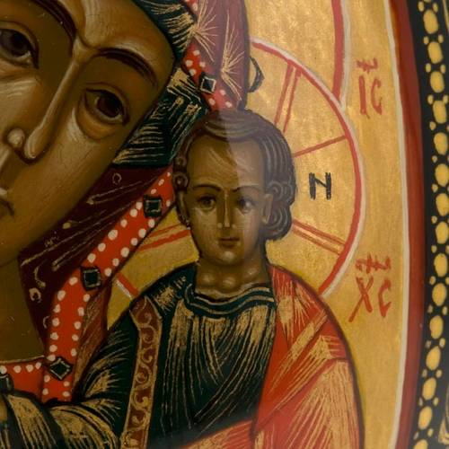 Uovo icona Palekh Madonna Kazan e Pantocratore 17 cm 8