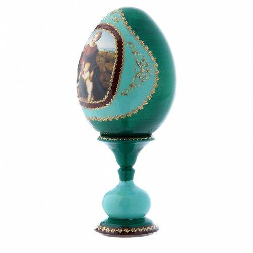Uovo russo La Madonna del Belvedere verde decorato a mano h tot 16 cm s2