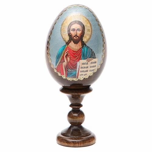 Uovo russo legno découpage Pantocratore h tot. 13 cm s1