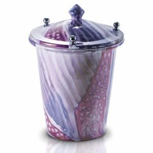 Urna cineraria ceramica con pomelli bianco fantasia s1