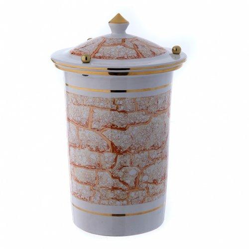 Urna cineraria ceramica con pomelli bianco oro s1