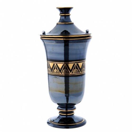 Urna funeraria ceramica nero oro lustri s2