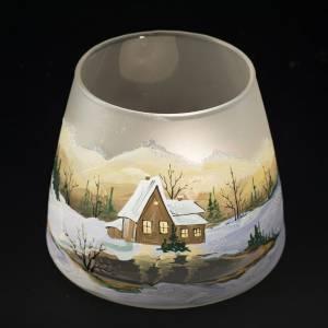 Vaso Porta vela de navidad, vidrio con paisaje con la nieve s5