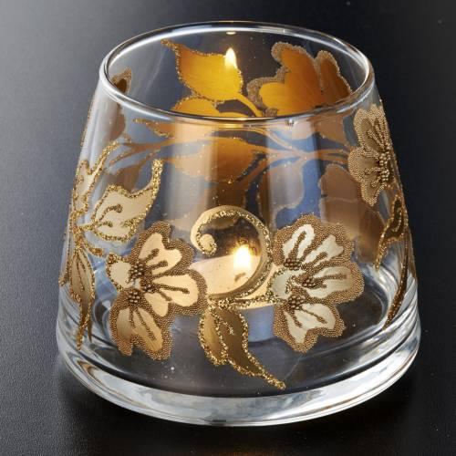 Vaso porta vela de vidrio pintado a mano s3