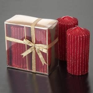 Vela  navideña con rayas bourdeaux s2
