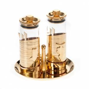 Metall Messkännchengarnitur: Vergoldete hermetisch verschließbare Messkännchengarnitur