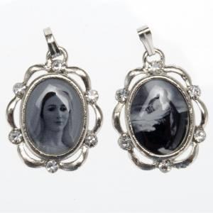 Medaillen: Versilberte Medaille mit Strass Maria Königin - Olivengarten