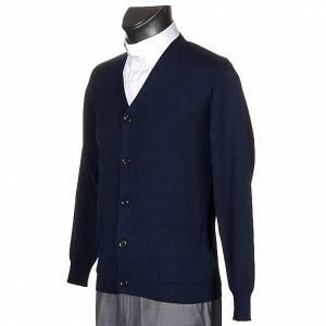 Veste en laine avec boutons,bleu s2