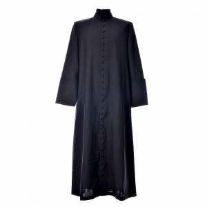 Albas litúrgicas: Vestido Talar de lana negra con botones recubiertos