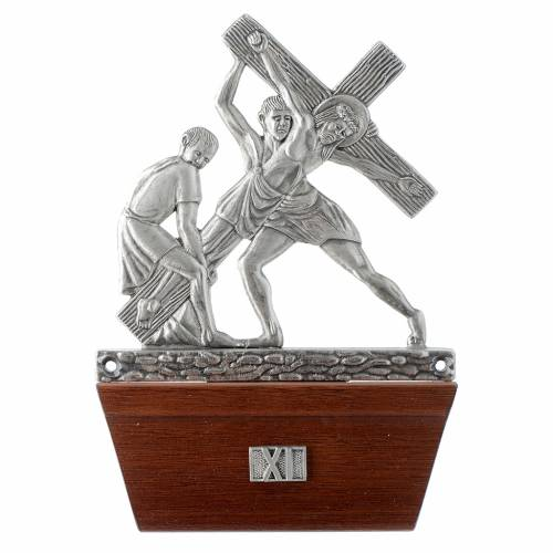 Vía Crucis 15 estaciones base de madera bronce plateado s11