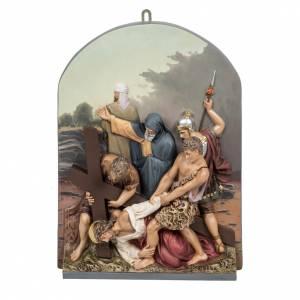 Vía Crucis: Vía Crucis 15 estaciones clásica en relieve pasta de madera
