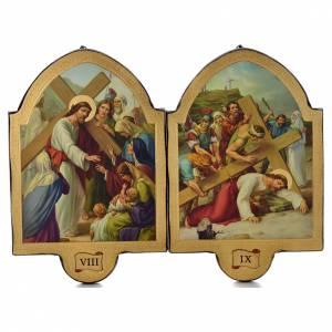 Via Crucis 15 stazioni 50x38 stampa su legno sgusciata s5