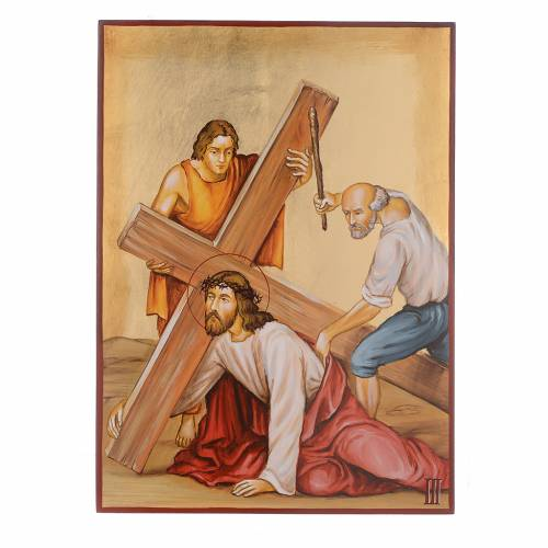 Via Crucis 15 Stazioni icone dipinte a mano 44x32 cm Romania s3