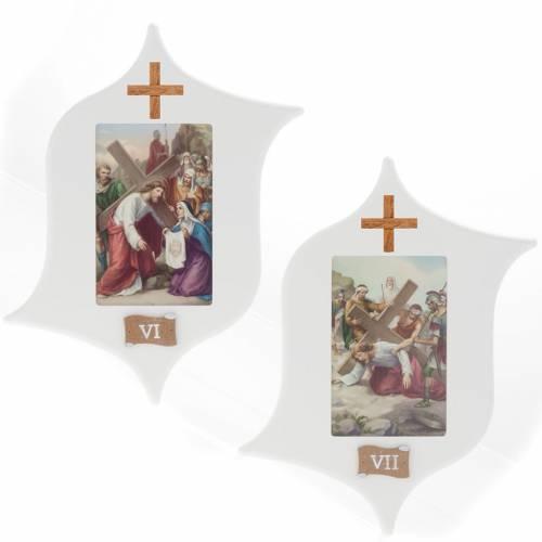 Via Crucis 15 stazioni: tavole legno a stella laccate s6