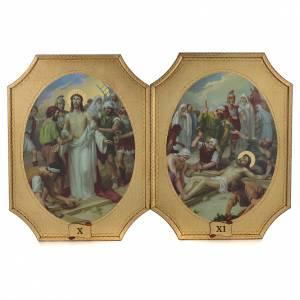 Via Crucis 15 tavole su legno sagomato foglia oro 52,5x35 s6