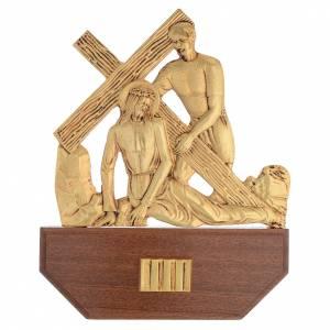 Vía Crucis latón fundido 24x30 cm sobre base 15 es s5