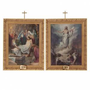 Via Crucis quadri legno tipo pittura 15 stazioni s16