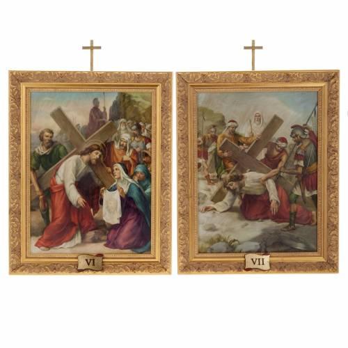 Via Crucis quadri legno tipo pittura 15 stazioni 12