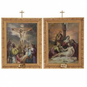 Via Crucis quadri legno tipo pittura 15 stazioni s15