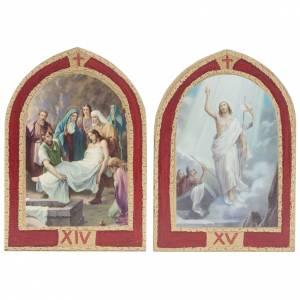 Via Crucis: tablas ojivales madera 15 estaciones s10