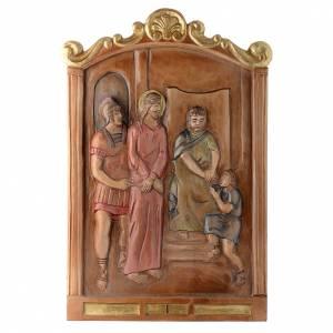 Vía Crucis: Vía Cruz 15 estaciones relieve madera pintada