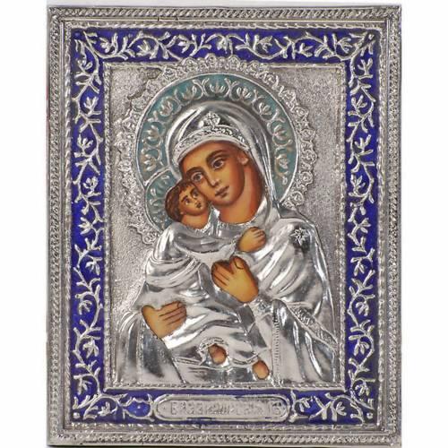 Vierge , mère de Dieu de Vladimir argent s1