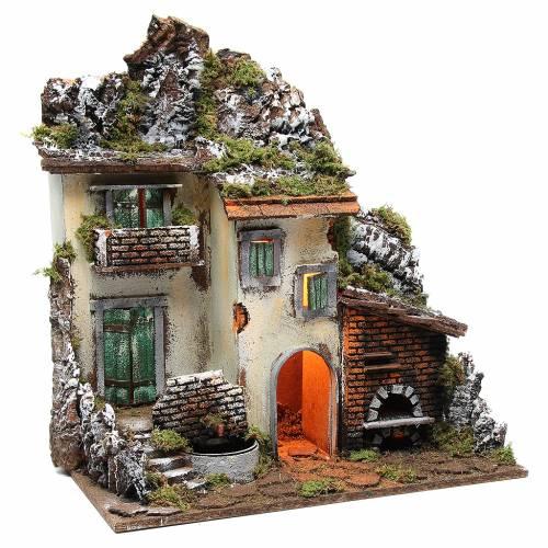 Village avec cabane crèche 55x50x35 cm avec lumière fontaine four 3