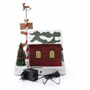Villaggio natalizio casa Babbo Natale luminoso musicale movimento nani 30X25X17 cm s5