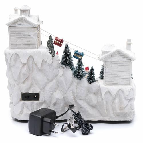 Villaggio natalizio con funivia 30x30x15 cm s5