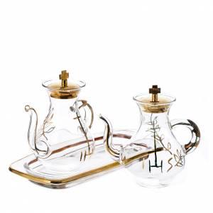 Vinajeras de vidrio: Vinajeras decoración dorada con pitón