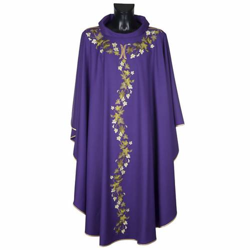 Violet chasuble with stole, ivy s1