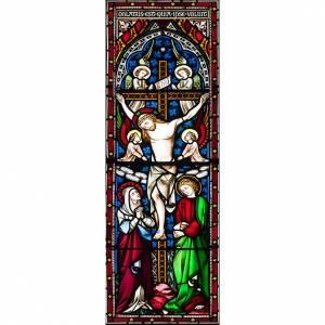 Vitrauphanie: Vitrophanie Crucifixion avec anges, 10.5x30 cm