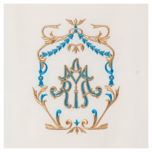 Voile lutrin broderie or et bleu initiales mariales s2