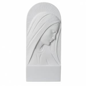 Volto di Maria 11 cm rilievo marmo bianco s1
