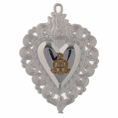 Votive heart, Hail Mary 9.5x7.5cm s1