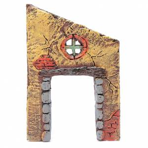 Home accessories miniatures: Wall with entrance and cross 15x10 cm for nativity scene
