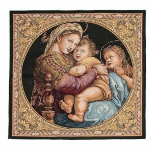 Wandteppiche: Wandteppich Madonna della Seggiola Raffaello 65x65cm