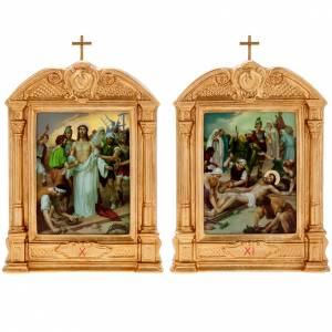 Way of the Cross in wood decorated with columns, 15 stations s12