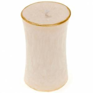 Weihnachtskerzen: Weihnachtskerze Zylinder Elfenbein und Gold Durchmesser 7 Zent.