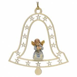 Christbaumschmuck aus Holz und PVC: Weihnachtsschmuck Glocke Engel mit Trompete aus Holz