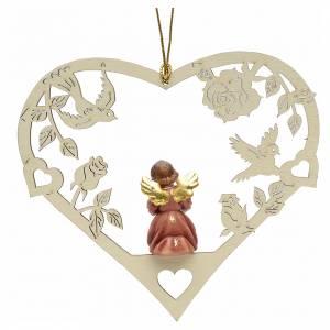 Christbaumschmuck aus Holz und PVC: Weihnachtsschmuck Herz mit Engel aus Holz