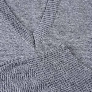 Jacken, Westen, Pullover: Weste hell Grau V-Kragen Wolle und Acryl