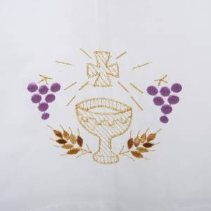 Albs: White alb in wool, chalice, grapes, earis of wheat