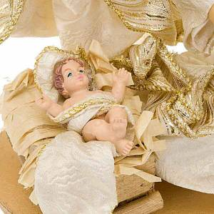 Nativity sets: White and gold nativity set, 25cm