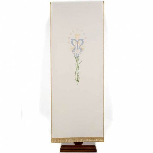 White Marian pulpit cover with lily s1