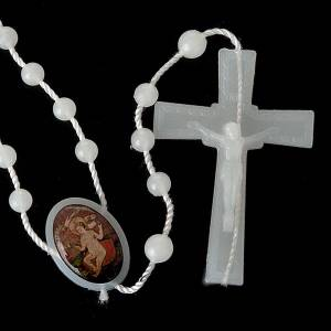 White nylon rosary with image of Baby Jesus from Wettingen s5
