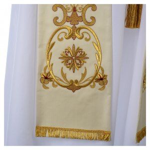 White stole in wool, gold embroideries ancient style s3