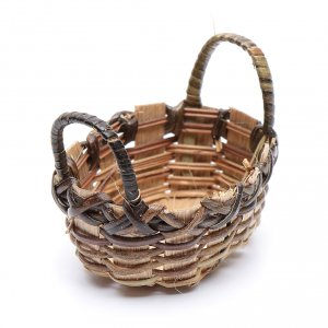 Home accessories miniatures: Wicker basket for clothes oval shape for DIY nativity scene  6x6 cm