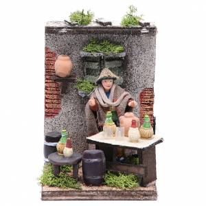 Wine seller animated figurine for Neapolitan Nativity, 10cm s1