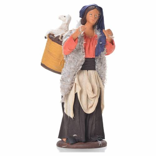 Woman with basket and sheep on shoulders, Neapolitan Nativity 14cm s1